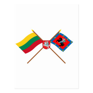 Lithuania and Vilnius County Flags with Arms Postcards