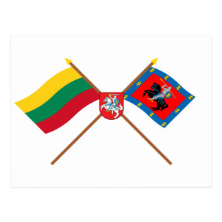 Lithuania and Vilnius County Flags with Arms Postcard