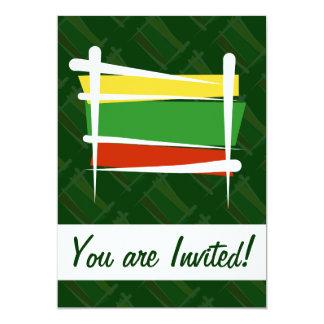 Lithuania Brush Flag Card