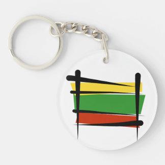 Lithuania Brush Flag Keychain
