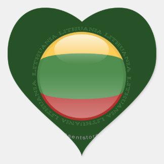 Lithuania Bubble Flag Heart Sticker