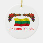 Lithuania Christmas Double-Sided Ceramic Round Christmas Ornament