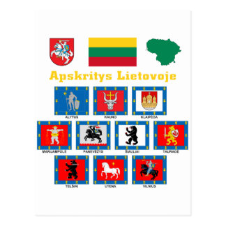 Lithuania County Flags Post Card