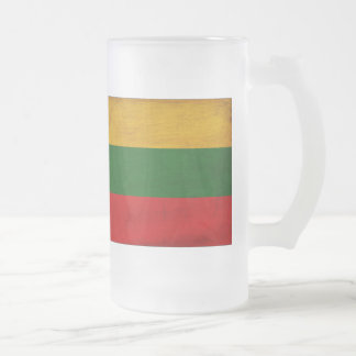 Lithuania Flag Frosted Glass Beer Mug