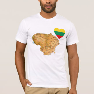 Lithuania Flag Heart and Map T-Shirt