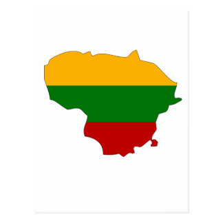 Lithuania flag map post card