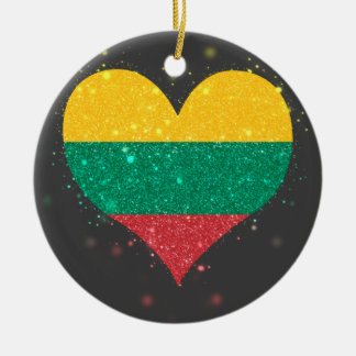 Lithuania Flag Shining Unique Double-Sided Ceramic Round Christmas Ornament