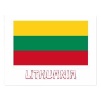 Lithuania Flag with Name Postcard