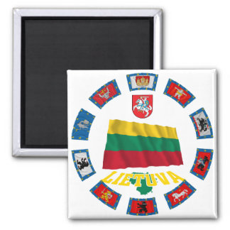 Lithuania Flags 2 Inch Square Magnet