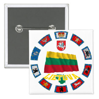 Lithuania Flags Pinback Button