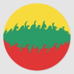 Lithuania Gnarly Flag Classic Round Sticker