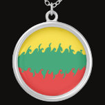 Lithuania Gnarly Flag Silver Plated Necklace