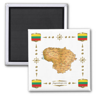 Lithuania Map + Flags Magnet