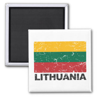 Lithuania Vintage Flag 2 Inch Square Magnet