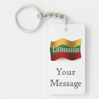 Lithuania Waving Flag Keychain