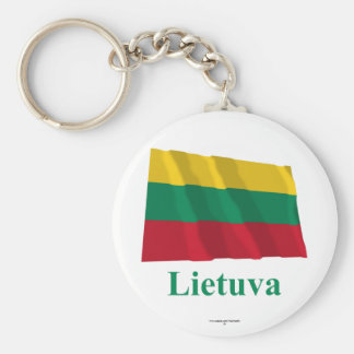 Lithuania Waving Flag with Name in Lithuanian Keychain
