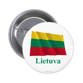 Lithuania Waving Flag with Name in Lithuanian Pinback Button