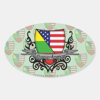 Lithuanian-American Shield Flag Oval Sticker