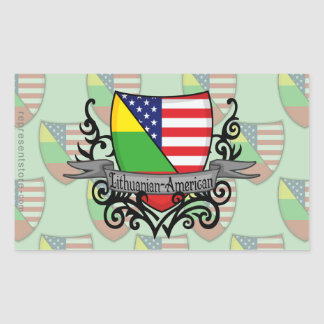 Lithuanian-American Shield Flag Rectangular Sticker