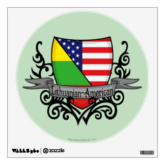 Lithuanian-American Shield Flag Wall Sticker