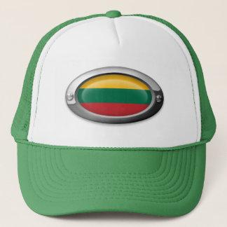 Lithuanian Flag in Oval Steel Frame Trucker Hat