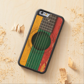 Lithuanian Flag on Old Acoustic Guitar Carved® Maple iPhone 6 Bumper