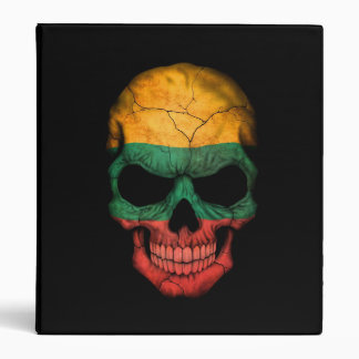 Lithuanian Flag Skull on Black Vinyl Binder