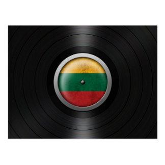 Lithuanian Flag Vinyl Record Album Graphic Postcard