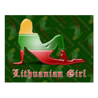 Lithuanian Girl Silhouette Flag Postcard
