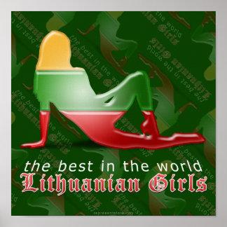 Lithuanian Girl Silhouette Flag Poster