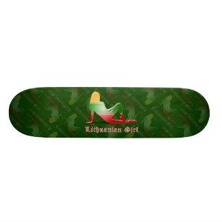 Lithuanian Girl Silhouette Flag Skate Deck