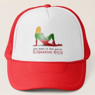 Lithuanian Girl Silhouette Flag Trucker Hat