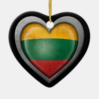 Lithuanian Heart Flag Steel Mesh Effect Ceramic Ornament