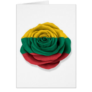 Lithuanian Rose Flag on White Card
