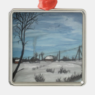 lithuanian winter square metal christmas ornament