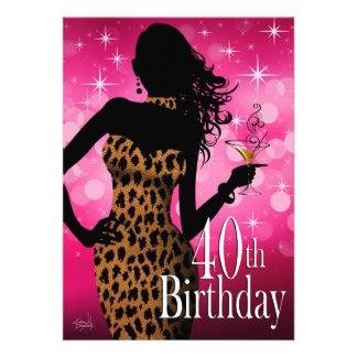 Litika Bombshell Sparkle Leopard 40th Birthday Invites