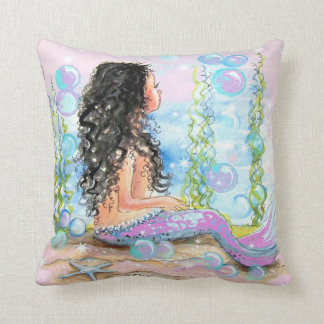 Litle Mermaid Pink Throw Pillow