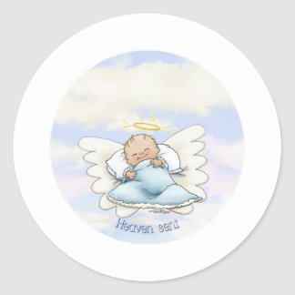 Litlle Baby Boy - Angel sent from above Classic Round Sticker