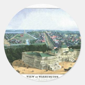 Litografía de color 1852 - vista de Washington Pegatinas Redondas