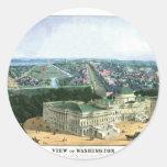 Litografía de color 1852 - vista de Washington Pegatina Redonda