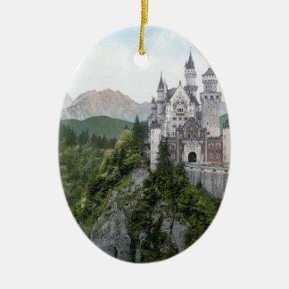 Litografía del castillo de Neuschwanstein Adorno Ovalado De Cerámica