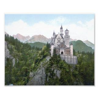 Litografía del castillo de Neuschwanstein Arte Fotografico