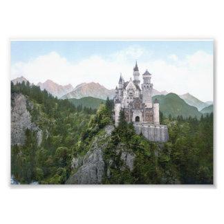 Litografía del castillo de Neuschwanstein Arte Fotográfico