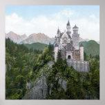 Litografía del castillo de Neuschwanstein Poster