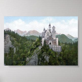 Litografía del castillo de Neuschwanstein Póster