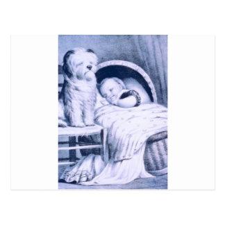 Litografía del vintage con el bebé y el mascota postal