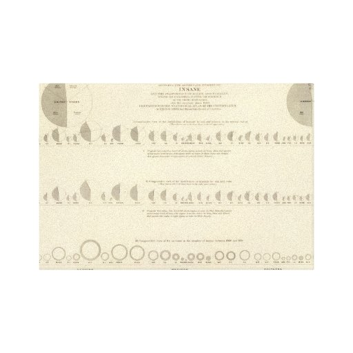 Litografía insana, estadística 1870 de los E.E.U.U Impresión En Tela