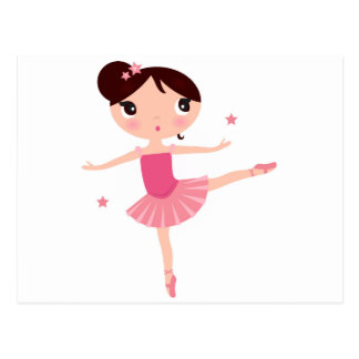 Litte cute pink balerina Girl on white with stars Postcard