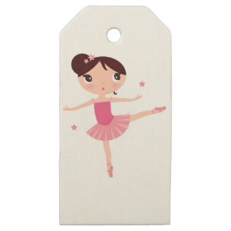 Litte cute pink balerina Girl on white with stars Wooden Gift Tags