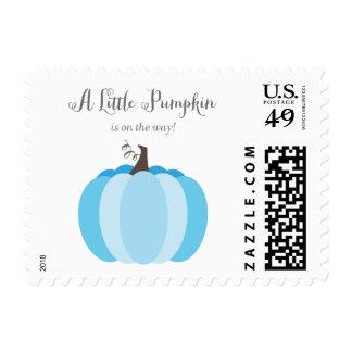 Litte Pumpkin Fall Baby Shower Stamps, Boy Blue Postage